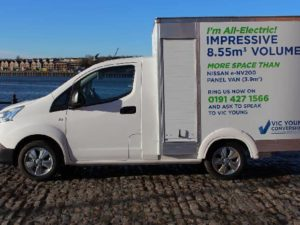 Conversion of a panel van into a fully electric, lightweight commercial box van